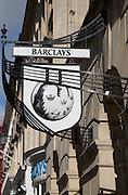 Barclays bank signage, Milsom Street, Bath, Somerset, England