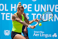 LIVERPOOL, ENGLAND - Sunday, June 18, 2017: Polona Hercog (SLO) during the Women's Final on Day Four of the Liverpool Hope University International Tennis Tournament 2017 at the Liverpool Cricket Club. (Pic by David Rawcliffe/Propaganda)
