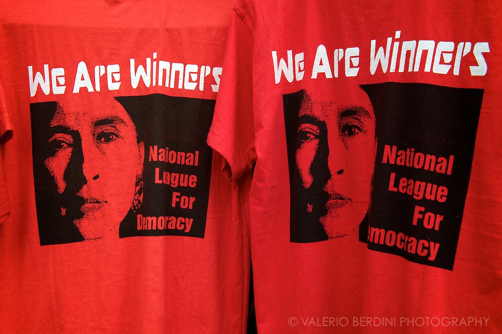 Merchandise is quickly updated with the upcoming news. NLD will mark a historical victory grabbing 43 of the 44 seats they ran for..Yangon, Myanmar. 2012