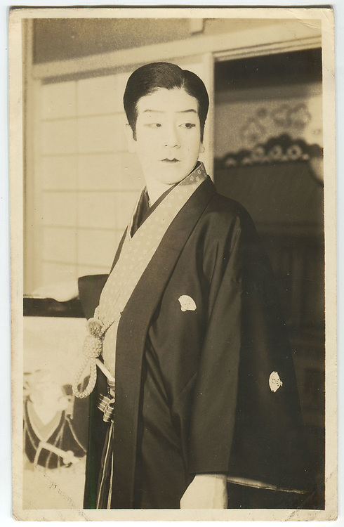 Shochiku Studios cinema actor dressed in female &ldquo;oyama&rdquo; roles, one dated Nov. 1937, silver gelatin bromide post cards published by Oriental Photo Papers.<br />