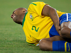 Luis Fabiano of Brazil injured during the 2010 FIFA World Cup South Africa Group G Second Round match between Brazil and République de Côte d'Ivoire on June 20, 2010 at Soccer City Stadium in Soweto, suburban Johannesburg, South Africa. (Photo by Vid Ponikvar / Sportida)