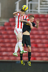 STOKE-ON-TRENT, ENGLAND - Wednesday, May 1, 2013: Liverpool's Dan Cleary in action against Stoke City's George Waring during the Premier League Academy match at the Britannia Stadium. (Pic by David Rawcliffe/Propaganda)