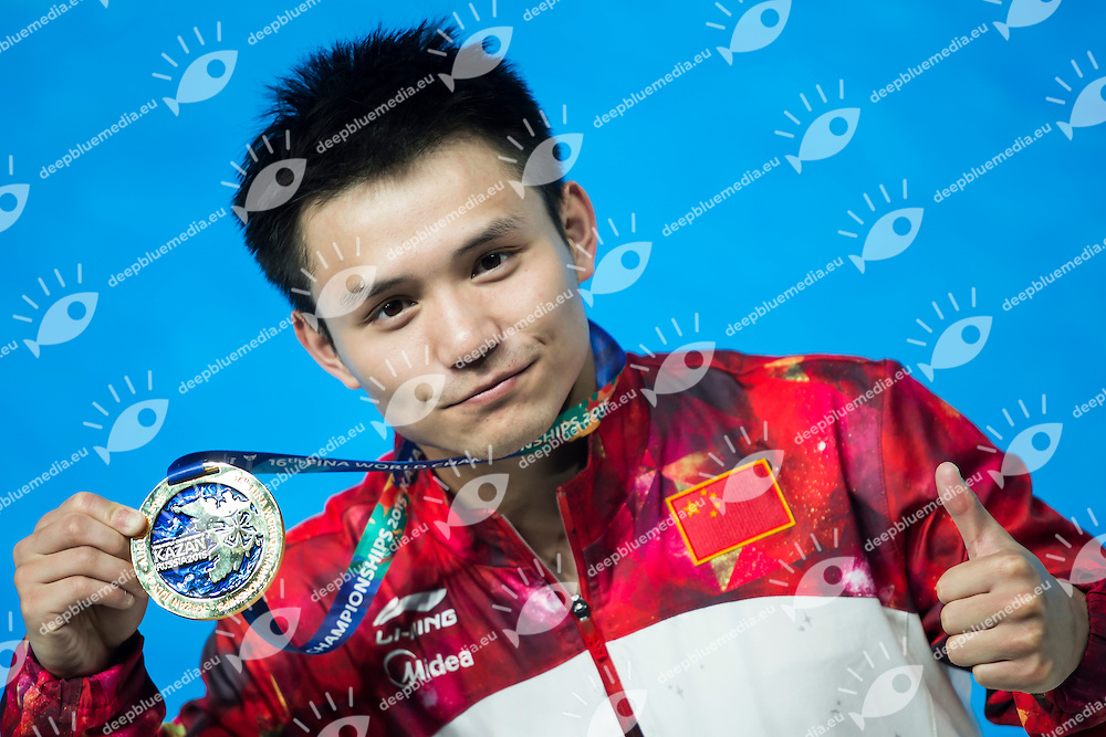 QIU Bo CHN gold medal<br /> Diving - Men's 10m Platform final<br /> Day 10 02/08/2015<br /> XVI FINA World Championships Aquatics Swimming<br /> Kazan Tatarstan RUS July 24 - Aug. 9 2015 <br /> Photo Giorgio Perottino/Deepbluemedia/Insidefoto