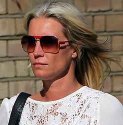 Denise Van Outen wearing a white lace blouse, short black shorts and red ankle boots out and about in London, UK. 09/08/2013<br /> BYLINE MUST READ : JAMESY/GOTCHA IMAGES<br /> <br /> Copyright by © Gotcha Images Ltd. All rights reserved.<br /> Usage of this image is conditional upon the acceptance <br /> of Gotcha Images Ltd, terms and conditions available at<br /> www.gotchaimages.com