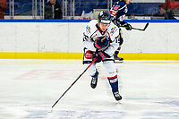 2020-01-22   Kallinge, Sweden: Halmstad Hammers (19) Carl Westberg is hurt during the game between Krif hockey and Halmstad Hammers at Soft Center Arena (Photo by: Jonathan Persson   Swe Press Photo)<br /> <br /> Keywords: kallinge, Ishockey, Icehockey, hockeyettan, allettan södra, soft center arena, krif hockey, halmstad hammers (Match code: krhh200122)