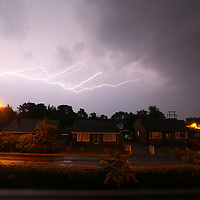 Lightning over Charnock Richard in Chorley Lancashire<br /> Pictures by Paul Currie<br /> 07796 146931<br /> www.paulcurriephotos.com