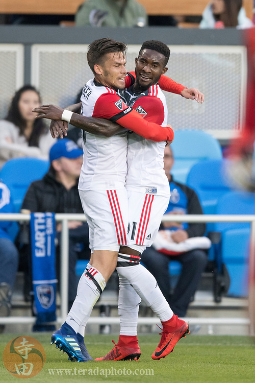 May 19, 2018; San Jose, CA, USA; D.C. United midfielder Zoltan Stieber (18) and midfielder Oniel Fisher (91) during the first half against the San Jose Earthquakes at Avaya Stadium.