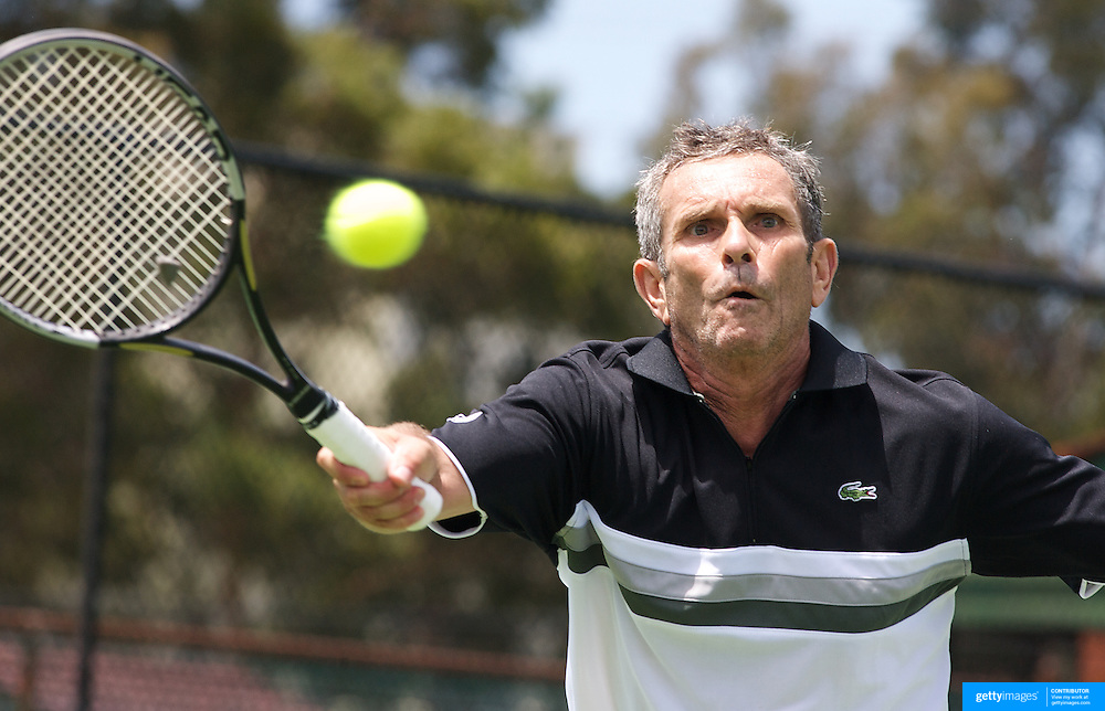 Xavier Lemoine, France, in action against Luis Flor de la Morena, Spain, in the Von Cramm Cup match during the 2009 ITF Super-Seniors World Team and Individual Championships at Perth, Western Australia, between 2-15th November, 2009...