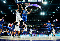 Luka Doncic of Slovenia vs Dimitrios Agravanis of Greece during basketball match between National Teams of Slovenia and Greece at Day 4 of the FIBA EuroBasket 2017 at Hartwall Arena in Helsinki, Finland on September 3, 2017. Photo by Vid Ponikvar / Sportida