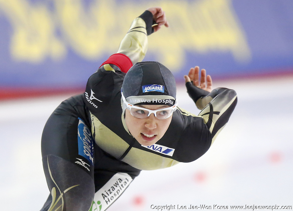 Japan's Nao Kodaira in action during women's 500m Division A of the ISU Speed Skating World Cup at Taerung International Skating Rink in Seoul, November 21, 2014. Photo by Lee Jae-Won (SOUTH KOREA) www.leejaewonpix.com/
