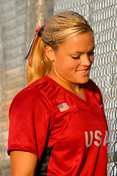 30 June 2004  Team USA's Jennie Finch smiles . Bloomington Lady Hearts vs. USA Olympic Softball Team.  Champion Field #1.  Normal Illinois