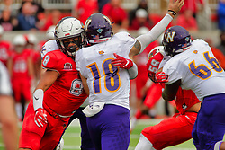 NORMAL, IL - October 06: Romeo McKnight forces the hurry up pass by Sean McGuire during a college football game between the ISU (Illinois State University) Redbirds and the Western Illinois Leathernecks on October 06 2018 at Hancock Stadium in Normal, IL. (Photo by Alan Look)
