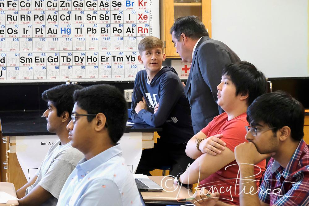 CMS First Day  - Mallard Creek High School  Supt visits a chemistry classroom