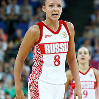 09 August 2012: Russia Alena Danilochkina is seen during 81-64 Team France victory over Team Russia, during the women's basketball semi-finals, at the 02 Arena, in London, Great Britain.