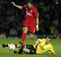 Fotball<br /> England 2004/2005<br /> Foto: SBI/Digitalsport<br /> NORWAY ONLY<br /> <br /> Watford v Southampton<br /> Carling Cup Semi Final. 25/01/2005.<br /> <br /> Milan Baros breaks past Jay DeMerit.