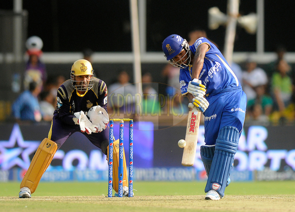 Sanju Samson of the Rajatshan Royals bats during match 25 of the Pepsi Indian Premier League Season 2014 between the Rajasthan Royals and the Kolkata Knight Riders held at the Sardar Patel Stadium, Ahmedabad, India on the 5th May  2014<br /> <br /> Photo by Pal Pillai / IPL / SPORTZPICS      <br /> <br /> <br /> <br /> Image use subject to terms and conditions which can be found here:  http://sportzpics.photoshelter.com/gallery/Pepsi-IPL-Image-terms-and-conditions/G00004VW1IVJ.gB0/C0000TScjhBM6ikg