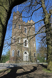 © Licensed to London News Pictures. 14/04/2014. Historic Severndroog pictured in Oxleas Wood. A 18th century castle on a hill in south east London is preparing to reopen as its restoration nears completion. Severndroog Castle in Oxleas Woods on Shooters Hill enjoys stunning views across five counties. The folly has been closed for many years and was in state of disrepair before work started on a restoration project last year. The historic building featured in the BBC series Restoration in 2004. Reopening date yet to be confirmed, more information available fron the Severndroog Castle Building Presevation Trust . Credit : Rob Powell/LNP