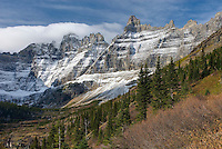 Fresh autumn snow on the Ptarmigan Wall Glacier National Park Montana USA