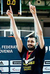 Marko Jagodic Kuridza of Sixt Primorska  celebrates after winning during basketball match between KK Sixt Primorska and KK Hopsi Polzela in final of Spar Cup 2018/19, on February 17, 2019 in Arena Bonifika, Koper / Capodistria, Slovenia. KK Sixt Primorska became Slovenian Cup Champion 2019. Photo by Vid Ponikvar / Sportida