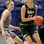 HARTFORD, CONNECTICUT- JANUARY 10: Ariadna Pujol #11 of the South Florida Bulls defended by Katie Lou Samuelson #33 of the Connecticut Huskies during the the UConn Huskies Vs USF Bulls, NCAA Women's Basketball game on January 10th, 2017 at the XL Center, Hartford, Connecticut. (Photo by Tim Clayton/Corbis via Getty Images)