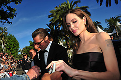 Angelina Jolie and Brad Pitt arriving for the screening of the film 'The Tree of Life' presented in competition in the Feature Films section as part of the 64th Cannes International Film Festival, at the Palais des Festivals in Cannes, southern France on May 16, 2011. Photo by Hahn-Nebinger-Genin/ABACAPRESS.COM