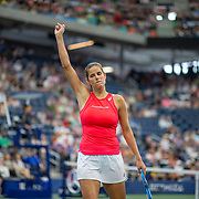 2019 US Open Tennis Tournament- Day Eight.  Julia Goerges of Germany celebrates a point in the first set tie break against Donna Vekic of Croatia in the Women's Singles round four match on Louis Armstrong Stadium during the 2019 US Open Tennis Tournament at the USTA Billie Jean King National Tennis Center on September 2nd, 2019 in Flushing, Queens, New York City.  (Photo by Tim Clayton/Corbis via Getty Images)