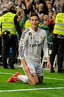 Real Madrid´s James Rodriguez celebrates a goal during 2014-15 La Liga match between Real Madrid and Malaga at Santiago Bernabeu stadium in Madrid, Spain. April 18, 2015. (ALTERPHOTOS/Luis Fernandez)