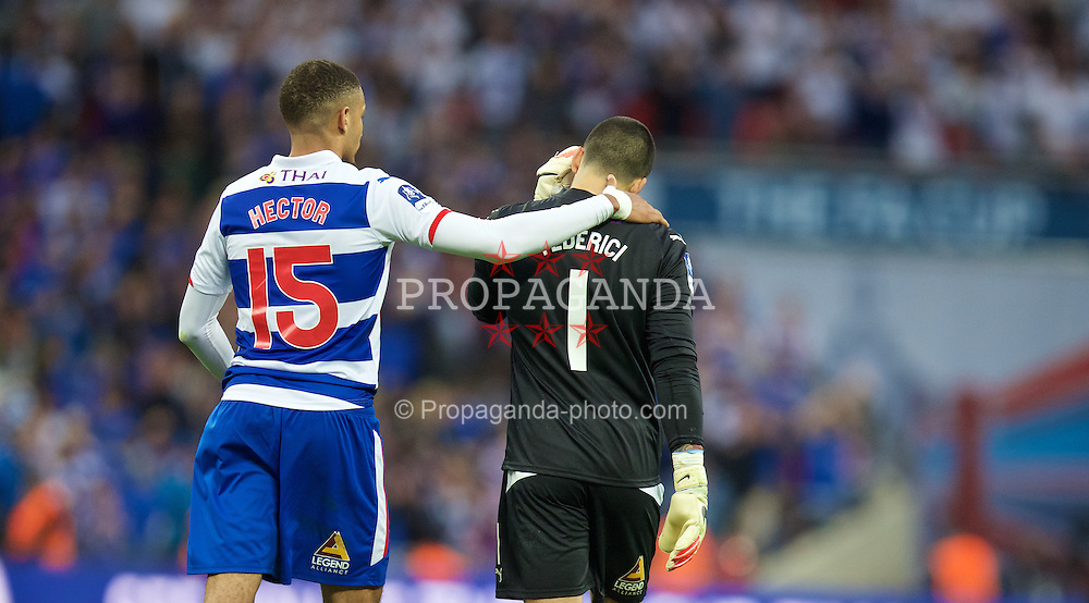 LONDON, ENGLAND - Saturday, April 18, 2015: Reading's goalkeeper Adam Federici is consoled by Michael Hector after his mistake gifted Arsenal a 2-1 extra time victory in the FA Cup Semi-Final match at Wembley Stadium. (Pic by David Rawcliffe/Propaganda)