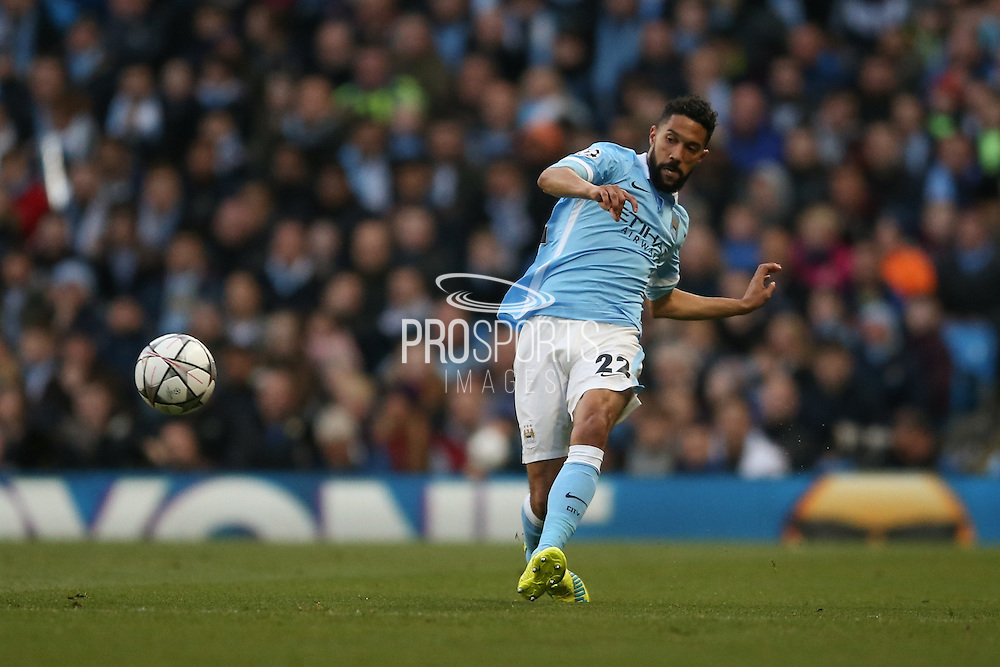 Manchester City defender Gael Clichy (22)  during the Champions League match between Manchester City and Real Madrid at the Etihad Stadium, Manchester, England on 26 April 2016. Photo by Simon Davies.