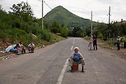 Serbian roadblocks during the second day of blockade...Serbian roadblocks along the main Pristina-Leposavic road in the village of Rudare, near Kosovska Mitrovica, Kosovo. Saturday July 30, 2011..Border crisis, July 2011