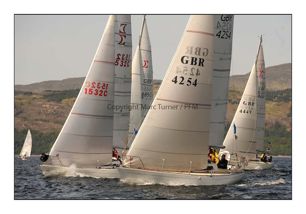 Brewin Dolphin Scottish Series 2010, Tarbert Loch Fyne - Yachting..Perfect conditions for the last days racing deciding the result in most fleets...Sigma 33, GBR4254 ,Sea-Pie of Cultra ,Jerry Colman ,Manx S & CC..Credit : Marc Turner / CCC......