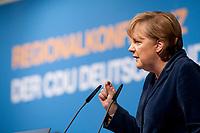 15 OCT 2010, BERLIN/GERMANY:<br /> Angela Merkel, CDU Bundesvorsitzende, haelt eine Rede, Regionalkonferenz der CDU fuer die Landesverbaende Berlin und Brandenburg, Palais am Funkturm<br /> IMAGE: 20101015-01-021