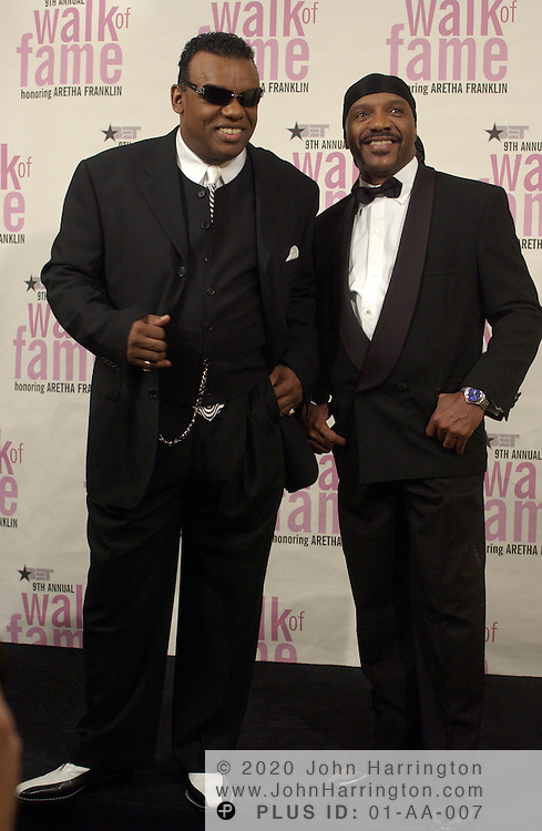 Isley Brothers Ronald and Rudolph backstage at BET's 9th annual Walk of Fame honoring Aretha Franklin on Saturday October 18, 2003.