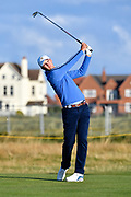 Alex Smalley (USA) plays from the second tee during the Sunday Foursomes in the Walker Cup at the Royal Liverpool Golf Club, Sunday, Sept 8, 2019, in Hoylake, United Kingdom. (Steve Flynn/Image of Sport)