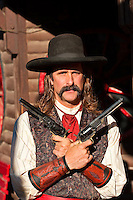 A man portrays Wild Bill Hickok, Main Street, Deadwood, Black Hills, South Dakota USA