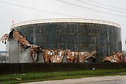 An oil tank is damaged by Hurricane Harvey near Seadrift, Texas August 26, 2017. REUTERS/Rick Wilking