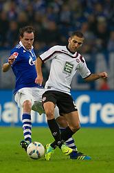 15.10.2011, Veltins Arena, Gelsenkirchen, GER, 1. FBL, FC Schalke 04 vs. 1. FC Kaiserslautern, im Bild Zweikampf Christoph Metzelder (#21 Schalke) - Itay Shechter (#9 Kaiserslautern) // during FC Schalke 04 vs. 1. FC Kaiserslautern at Veltins Arena, Gelsenkirchen, GER, 2011-10-15. EXPA Pictures © 2011, PhotoCredit: EXPA/ nph/  Kurth       ****** out of GER / CRO  / BEL ******