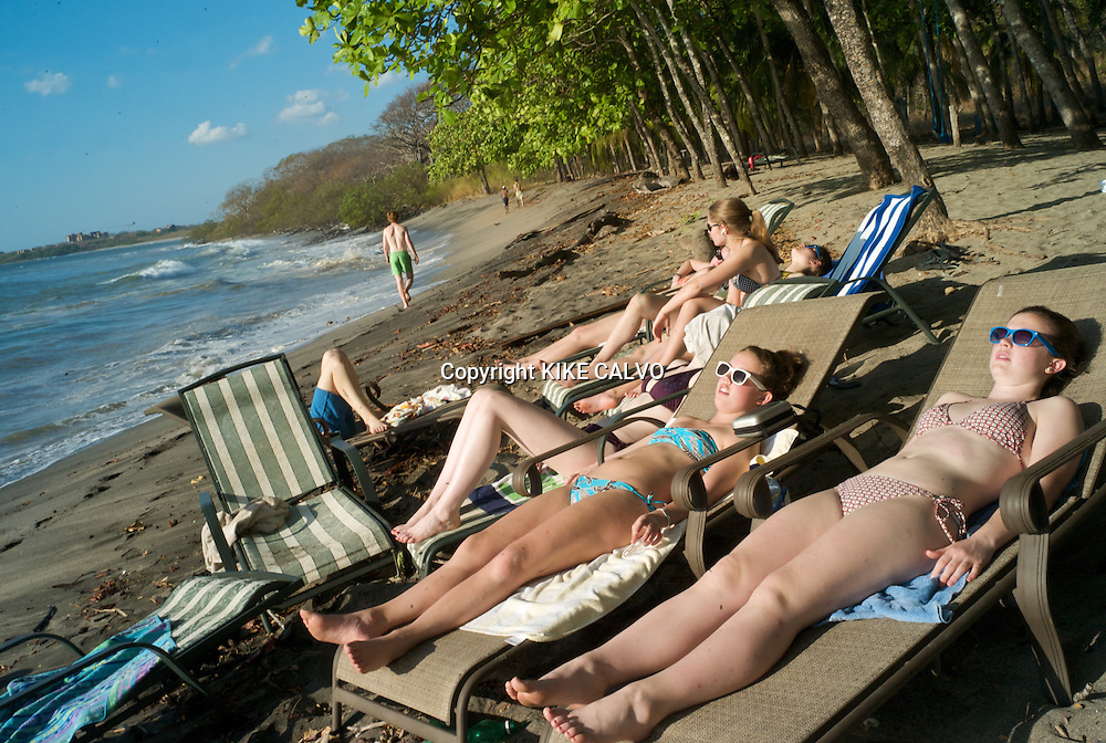Hacienda Pinilla, a 4,500-acre project in Guanacaste Peninsula, with more than 3 miles of beaches, hotels, villas and a golf course.A group of teens from Atlanta enjoy the sun in Playa Bonita. Pictured: Lizzy Jernigan, 17 (blue bikini) , and Paige Kimbel, 18 (pink bikini).