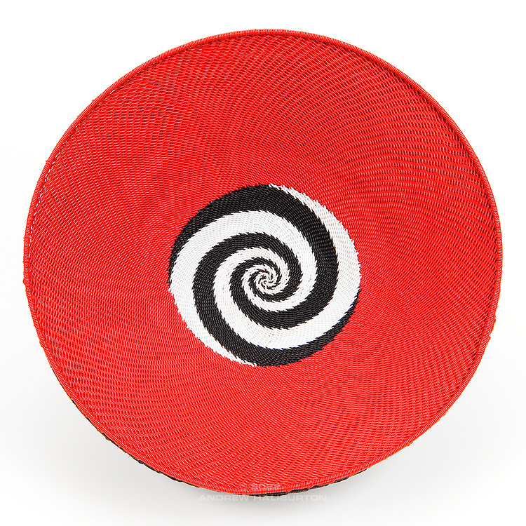 Open Bowl; Red with black and white swirl dot