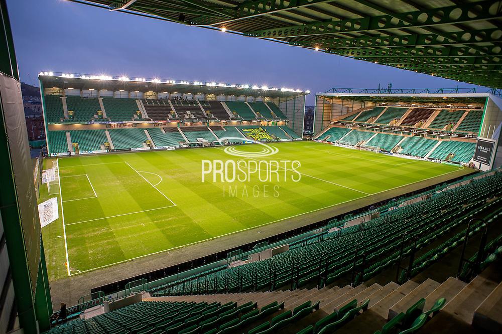 General view inside Easter Road Stadium, Edinburgh, Scotland before the Ladbrokes Scottish Premiership match between Hibernian FC and Rangers FC on 8 March 2019.