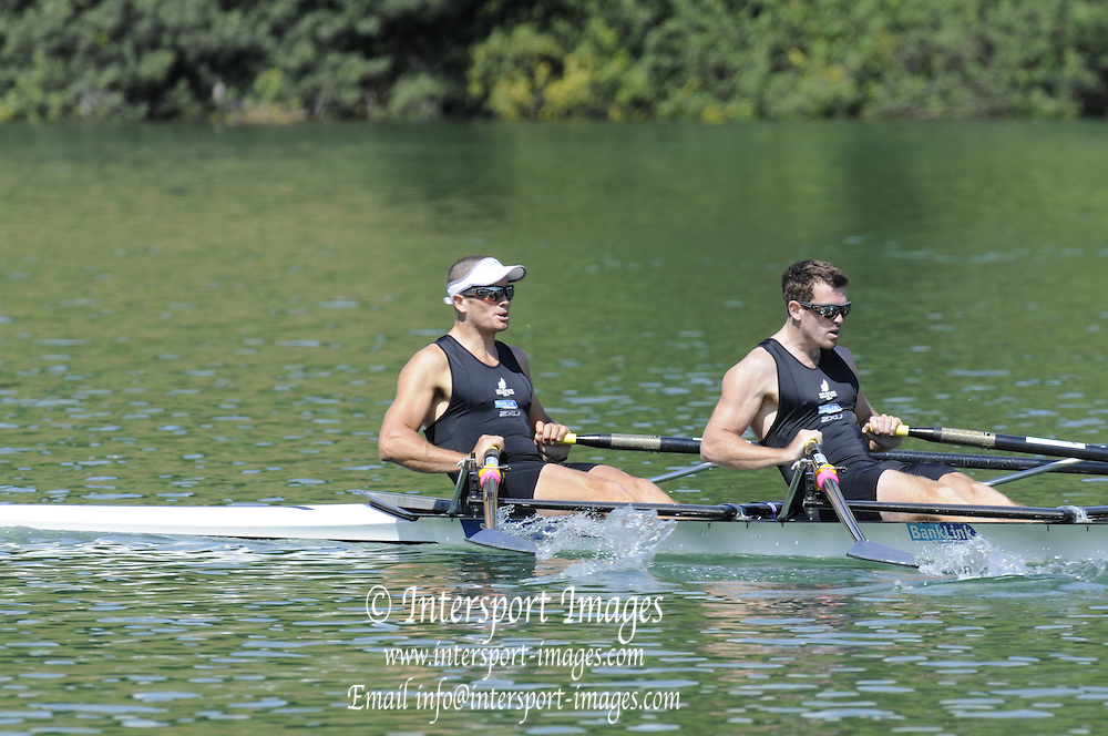 Lucerne SWITZERLAND,  NZL M2X. Bow, Nathan COHEN and Joseph SULLIVAN, competing in their morning heat  at the 2011 FISA World Cup on the Lake Rotsee. Friday   08/07/2011   [Mandatory Credit Peter Spurrier/ Intersport Images]
