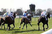 VERDANA BLUE (1) ridden by Connor Brace and trained by Nicky Henderson winning The Class 1 CPMS Scottish Champion Hurdle Race over 2m (£105,000)during the Scottish Grand National race day at Ayr Racecourse, Ayr, Scotland on 13 April 2019.