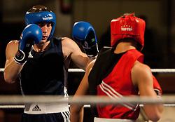29.10.2011, Stadtsaal, Lienz, AUT, Dolomiten Box Turnier 2011, im Bild Miroslav Depko (SLO, L) im Welter Kampf bis 69 Kg gegen Reti Bence (HUN, R) // Miroslav Depko of Slovenia (L) during boxing Welter weight fight against  Reti Bence  of Hungary (R) at Dolomite Boxing tournament 2011 at Stadtsaal in Lienz, Austria on 29/10/2011. EXPA Pictures © 2011, PhotoCredit: EXPA/ Johann Groder