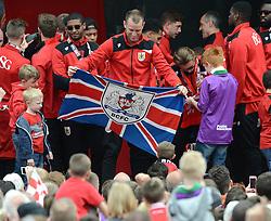 Bristol City's Aaron Wilbraham holds a Bristol City flag - Photo mandatory by-line: Dougie Allward/JMP - Mobile: 07966 386802 - 04/05/2015 - SPORT - Football - Bristol -  - Bristol City Celebration Tour