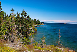 View of Rock Harbor and Lake Superior from the Stoll Memorial Trail, Isle Royale National Park, Michigan, United States of America