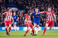 LONDON,ENGLAND - DECEMBER 05: Chelsea (10) Eden Hazard, Atletico Madrid (19) Lucas Hernández, Atletico Madrid (3) Filipe Luís, Atletico Madrid (6) Koke during the UEFA Champions League group C match between Chelsea FC and Atletico Madrid at Stamford Bridge on December 5, 2017 in London, United Kingdom.  <br /> ( Photo by Sebastian Frej / MB Media )