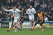 Hull City midfielder Moses Odubajo (2) during the Sky Bet Championship match between Hull City and Milton Keynes Dons at the KC Stadium, Kingston upon Hull, England on 12 March 2016. Photo by Ian Lyall.