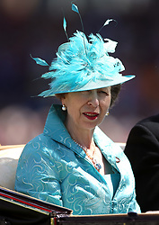 Anne, Princess Royal arrives at the racecourse during day three of Royal Ascot at Ascot Racecourse.