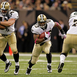 2009 October 04: New Orleans Saints running back Pierre Thomas (23) runs the ball during a 24-10 win by the New Orleans Saints over the New York Jets at the Louisiana Superdome in New Orleans, Louisiana.