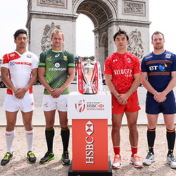 Dai Ozawa of Japan, Philip Snyman of South Africa, Nathan Hiriyama of Canada and Scott Riddell of Scotland during Captains photocall and press conference prior to the Hsbc Paris Rugby Sevens on May 11, 2017 in Paris, France. (Photo by Baptiste Fernandez/Icon Sport)